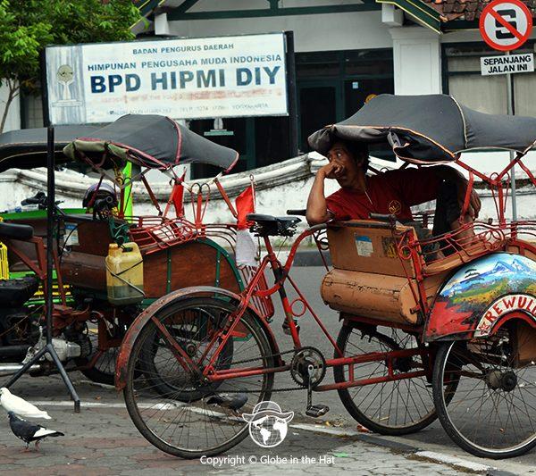 Becak driver in Yogyakarta City, Indonesia